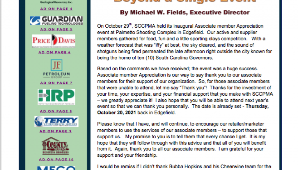 November 20 fuel line newsletter cover